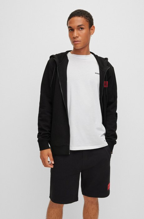 Zip-through sweatshirt in terry cotton with logo patch, Black