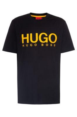 Hugo HUGO BOSS - CREW NECK T SHIRT IN PURE COTTON WITH LOGO PRINT - BLACK