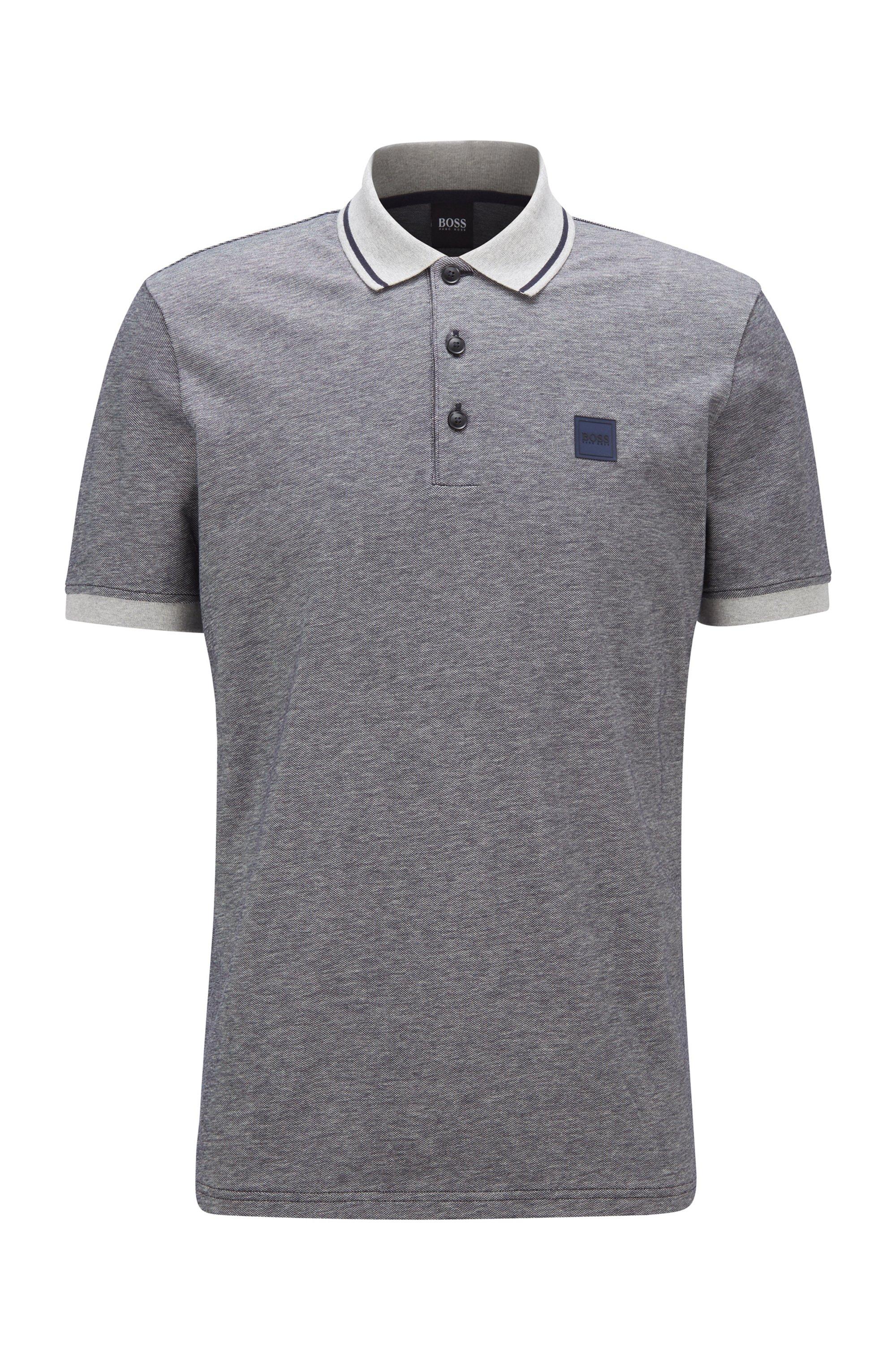 Regular-fit polo shirt in melange cotton, Dark Blue