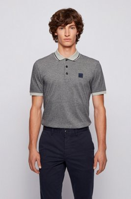 Regular-fit polo shirt in melange cotton, Dark Blue