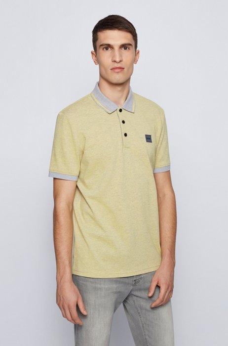 Regular-fit polo shirt in melange cotton, Yellow