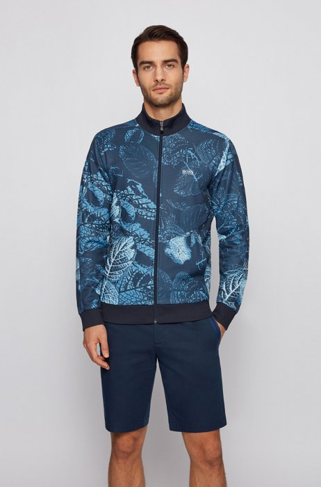 Regular-fit zip-up sweatshirt with botanical print, Dark Blue