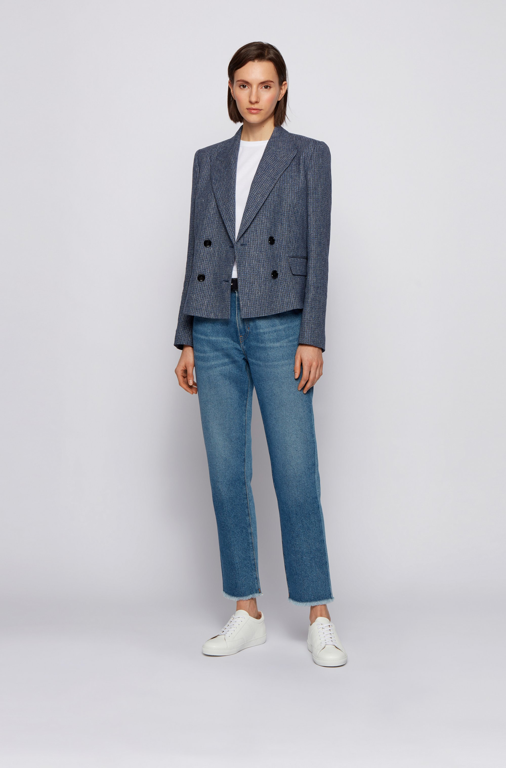 Double-breasted cropped jacket in checked organic linen