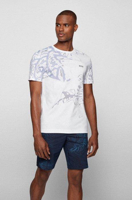 Interlock-cotton T-shirt with new-season botanical artwork, White