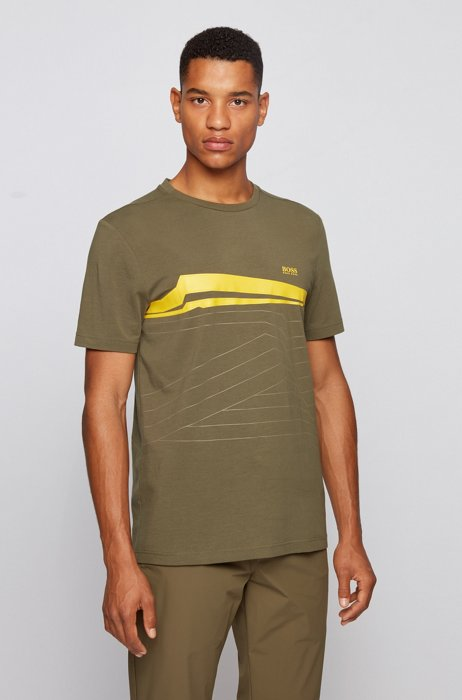 Graphic-print T-shirt in organic-cotton stretch jersey, Green