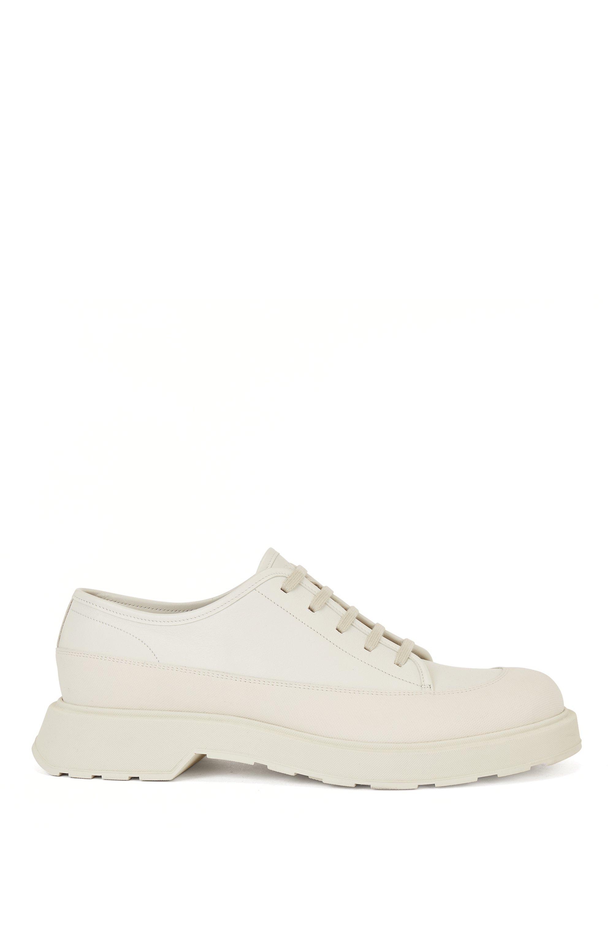 Hybrid Derby shoes in calf leather with lug sole, White