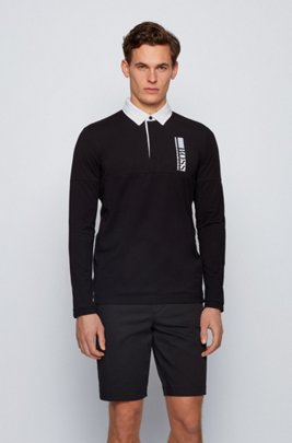 Long-sleeved polo shirt with logo embroidery, Black