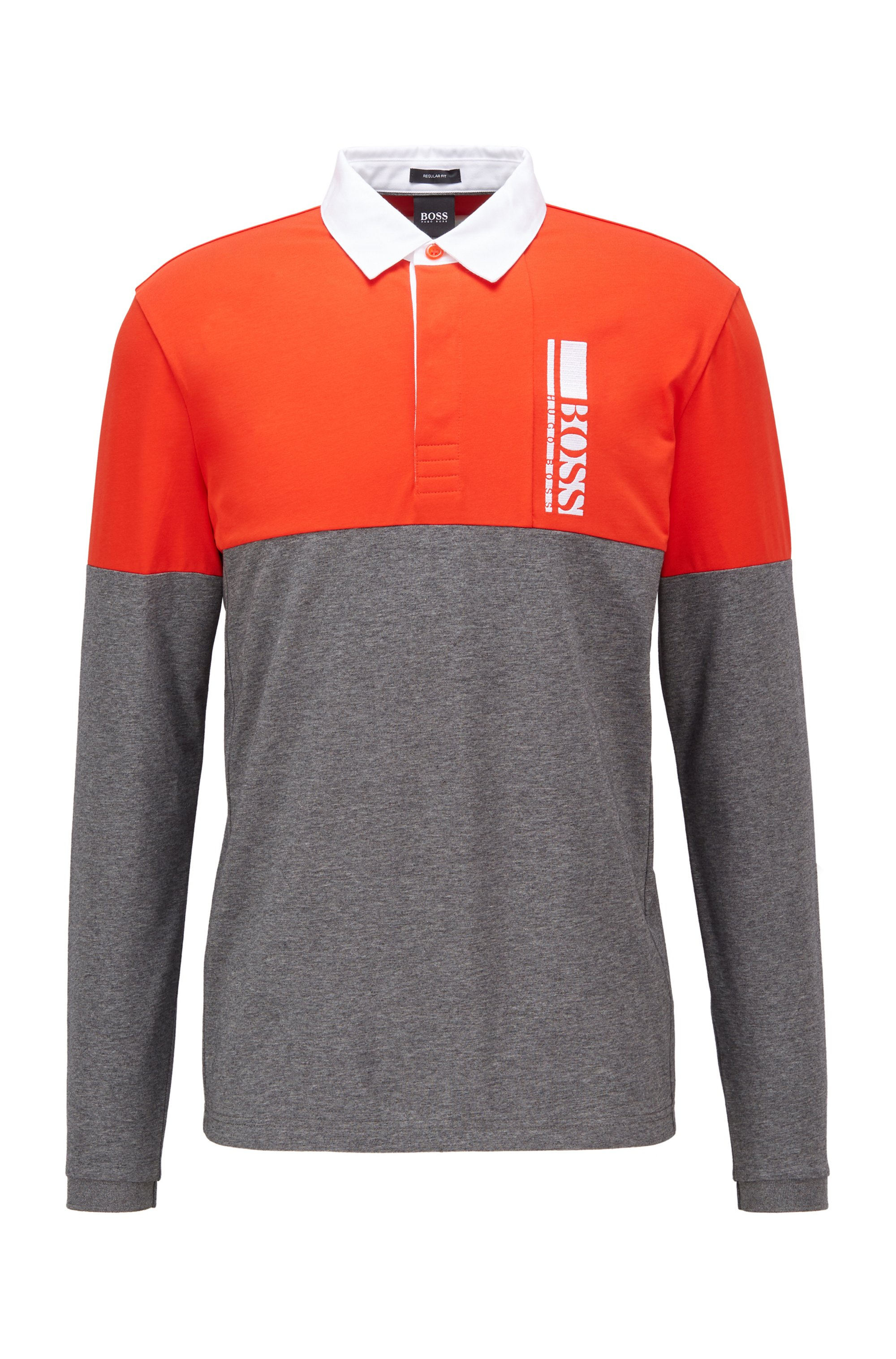 Long-sleeved polo shirt with logo embroidery, Grey