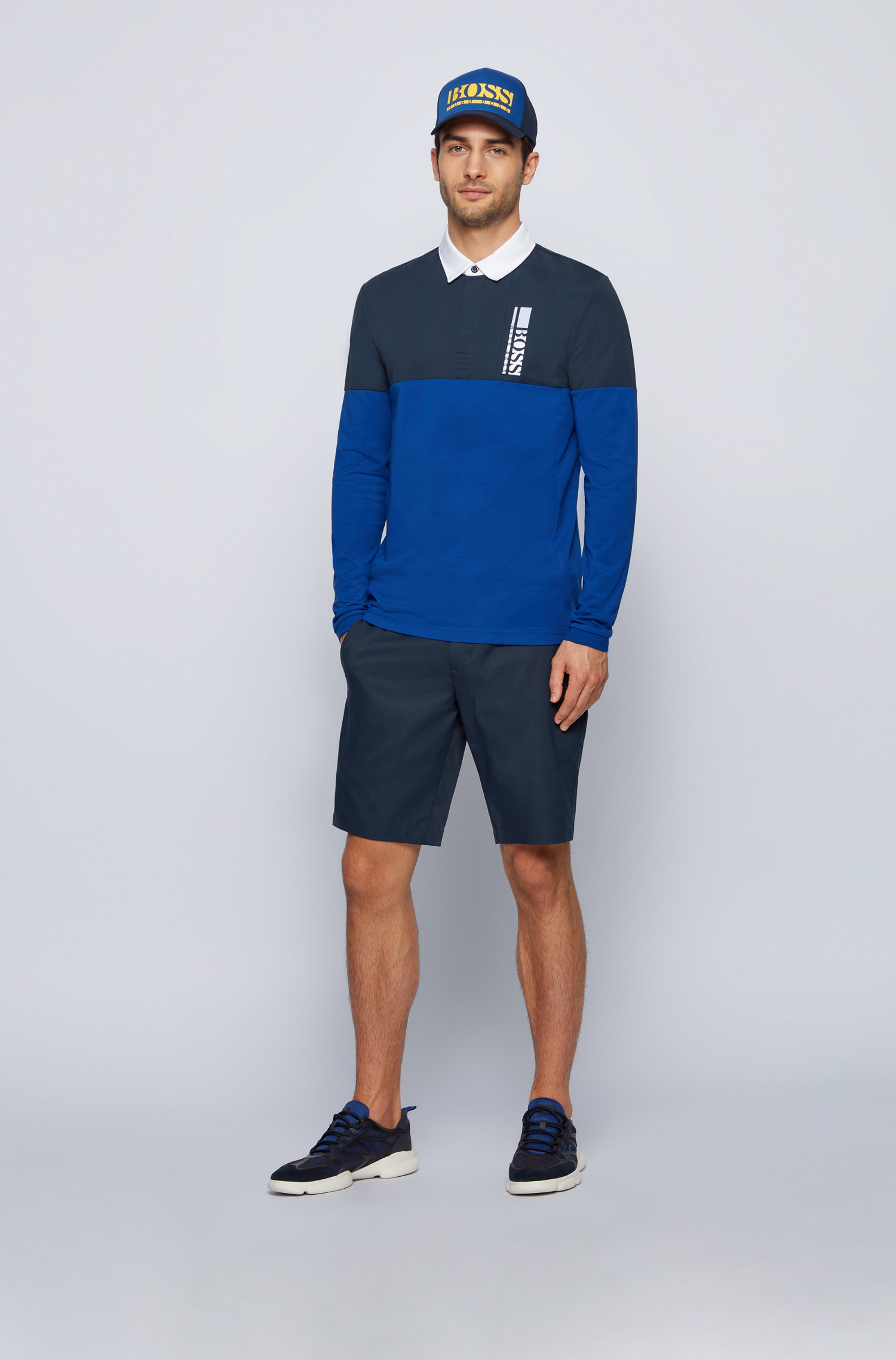 Long-sleeved polo shirt with logo embroidery