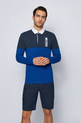 Long-sleeved polo shirt with logo embroidery, Blue