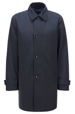 Hugo Boss HUGO BOSS - WATER REPELLENT OVERCOAT IN RECYCLED FABRIC - DARK BLUE