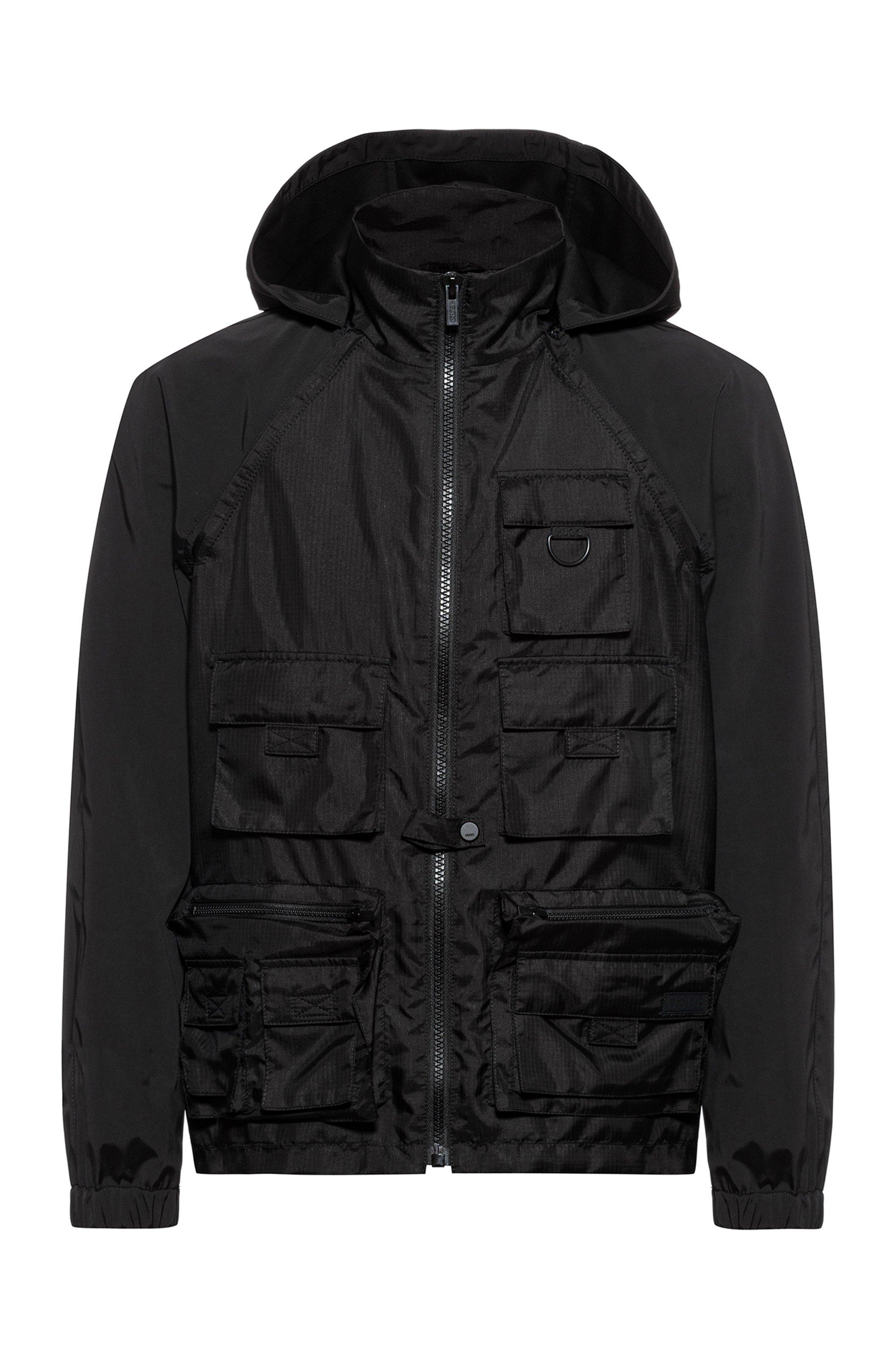 Hybrid windbreaker jacket with multiple pockets, Black