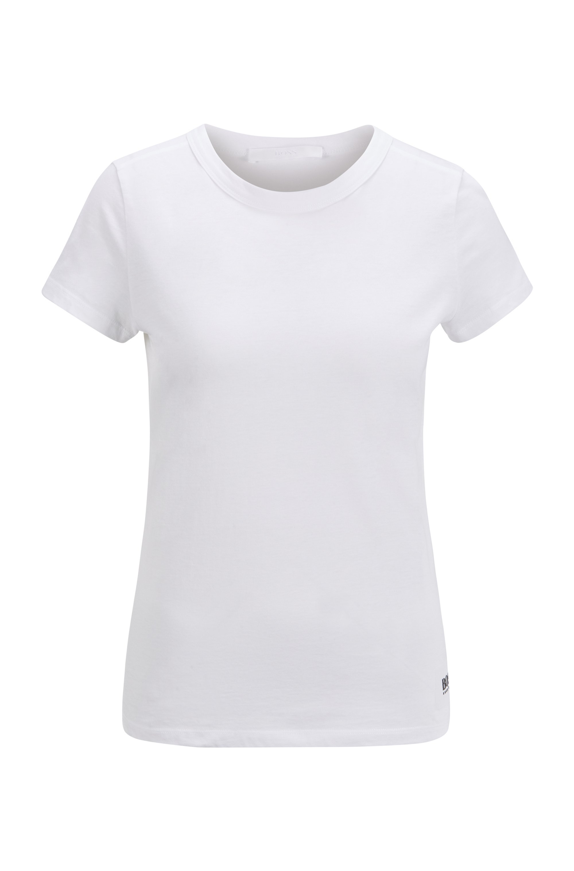 Slim-fit logo T-shirt in cotton and modal, White