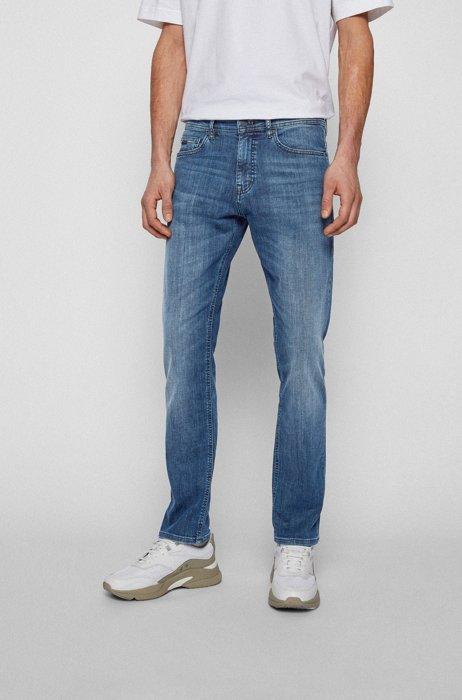 Slim-fit jeans in mid-blue super-stretch denim, Blue
