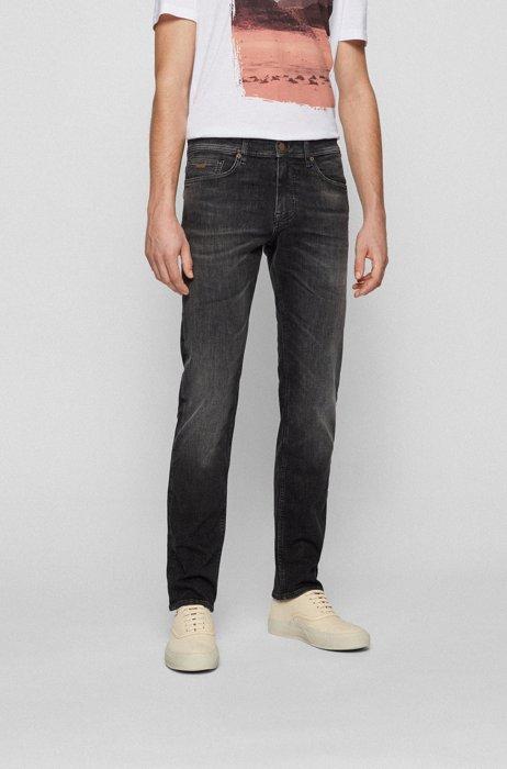 Slim-fit jeans in black super-stretch denim, Black