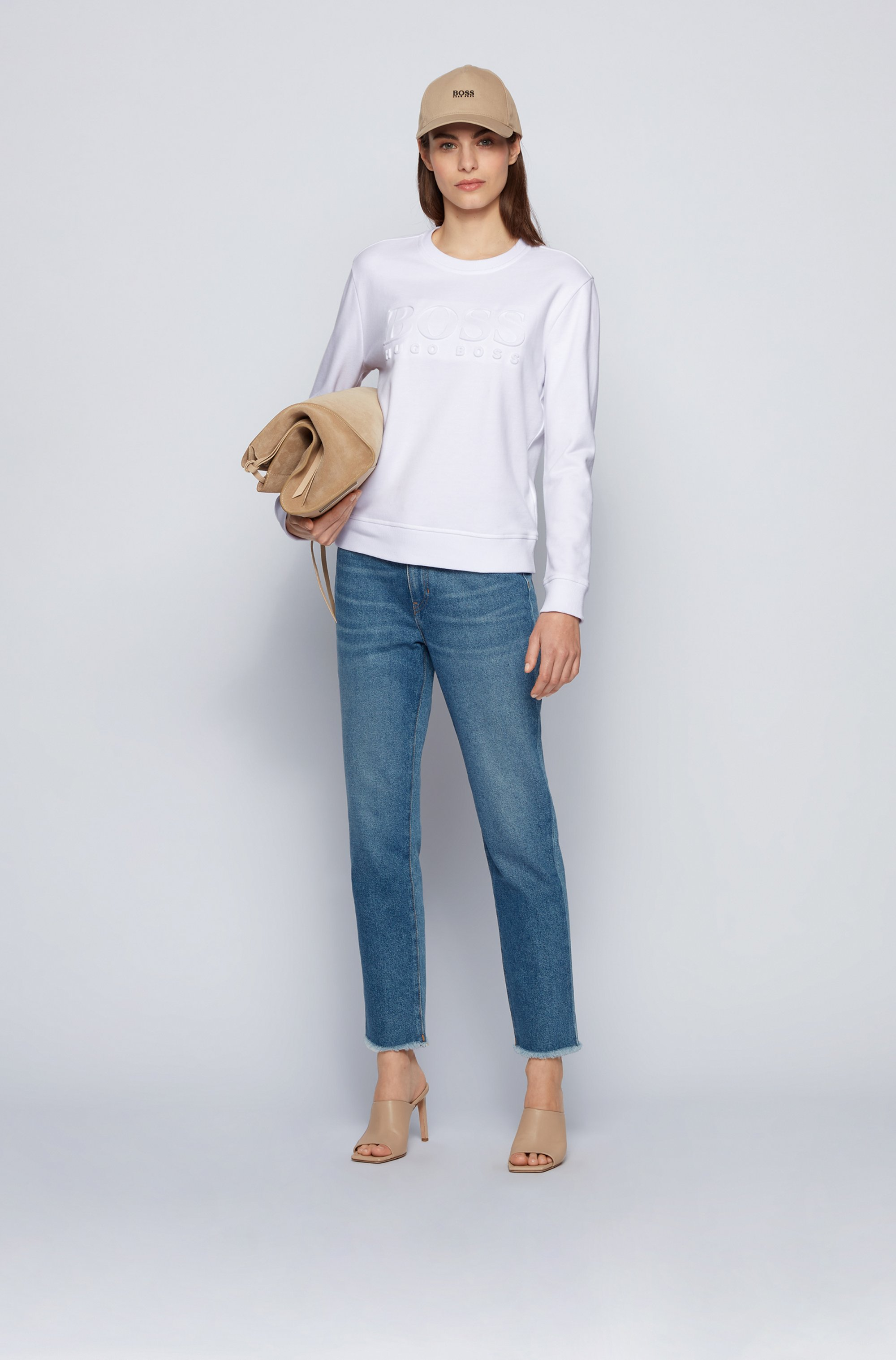 Regular-fit tonal-logo sweatshirt in organic cotton
