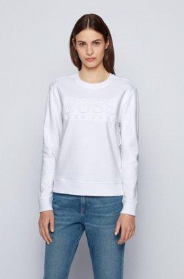 Regular-fit tonal-logo sweatshirt in organic cotton, White
