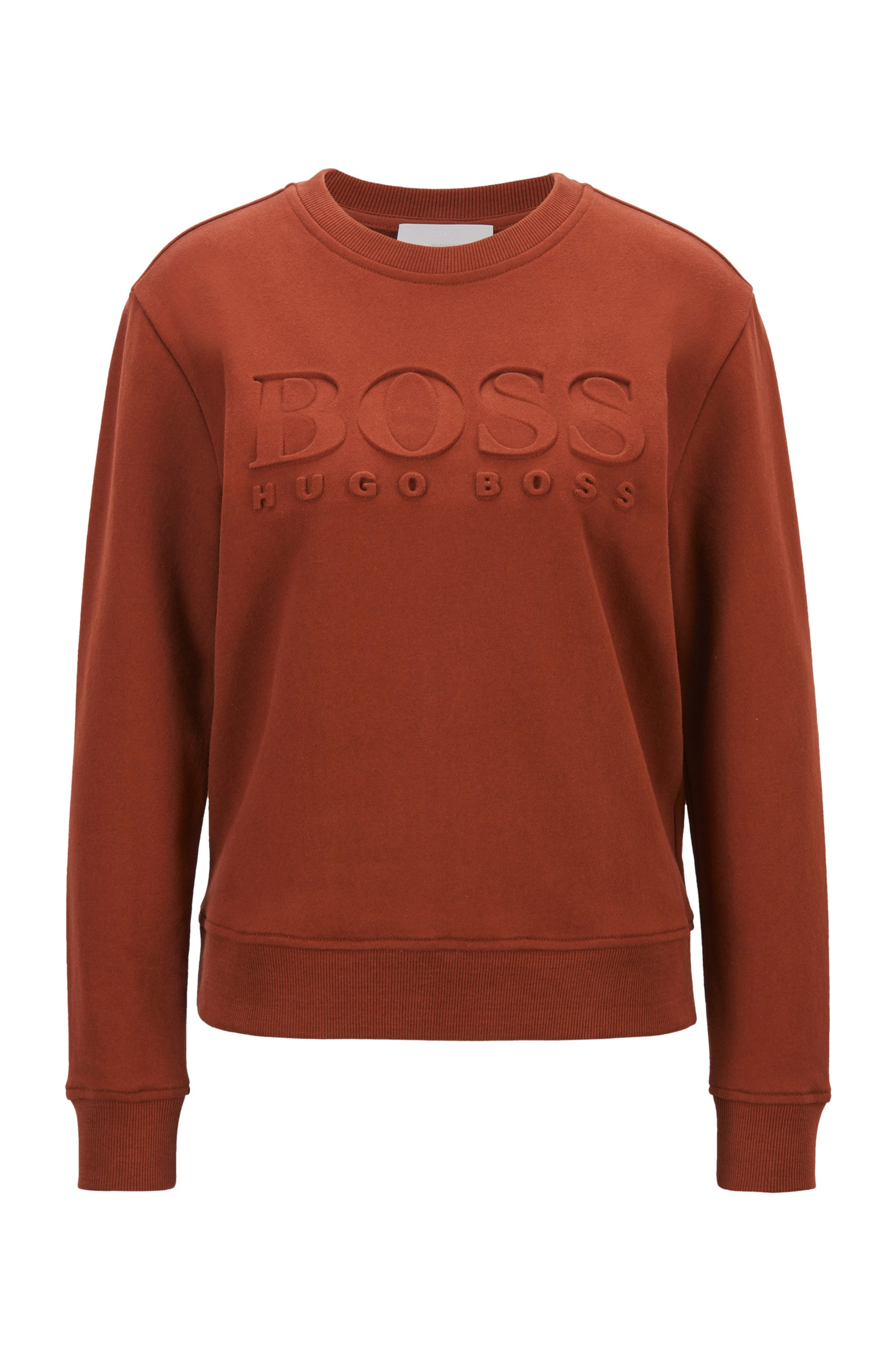 Regular-fit tonal-logo sweatshirt in organic cotton, Brown