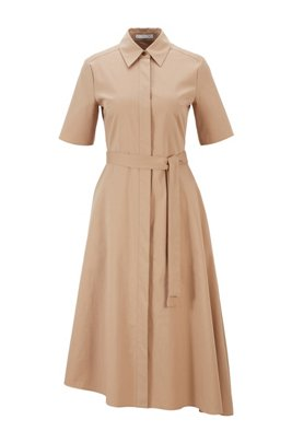Belted shirt dress in stretch fabric with asymmetric hem, Beige