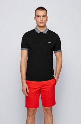 Stretch-cotton polo shirt with chest logo, Black