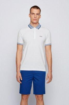 Stretch-cotton polo shirt with chest logo, White