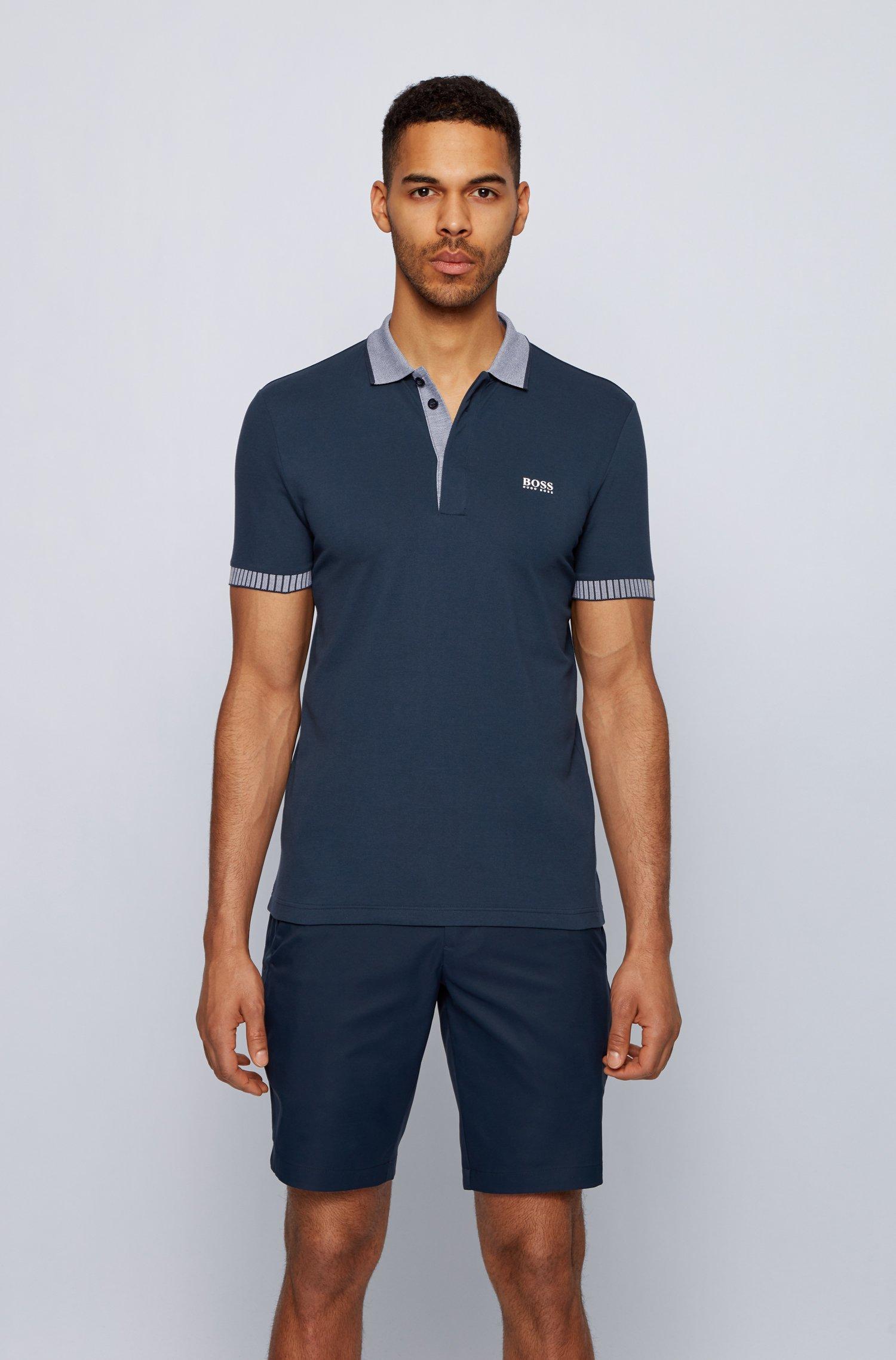 Stretch-cotton polo shirt with chest logo, Dark Blue