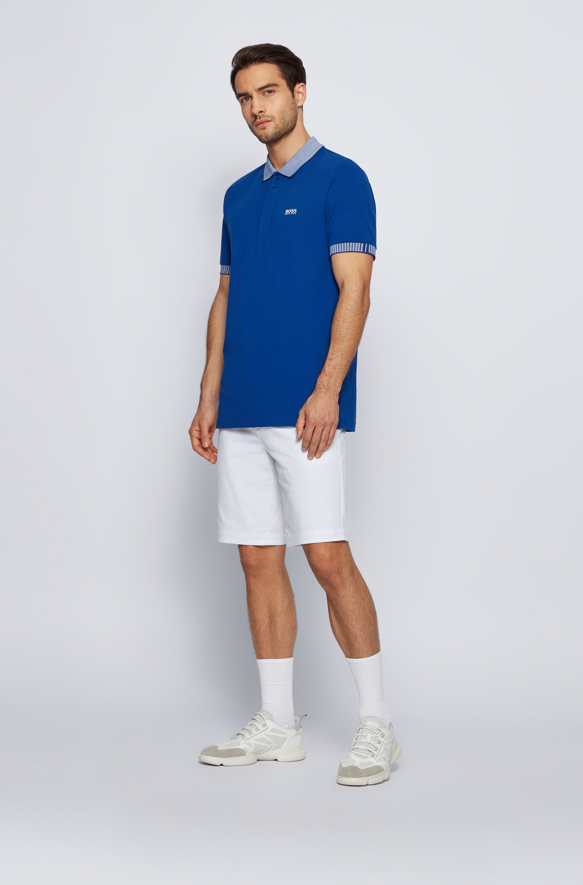 Stretch-cotton polo shirt with chest logo