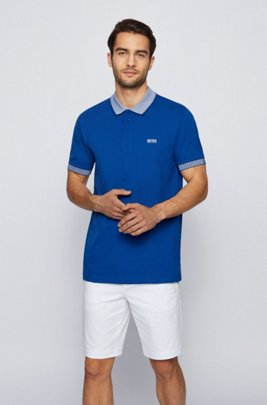 Stretch-cotton polo shirt with chest logo, Blue
