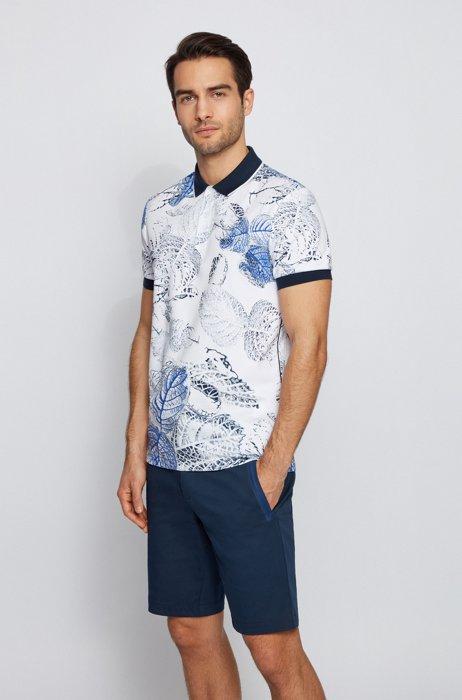 Interlock-cotton polo shirt with botanical print, White