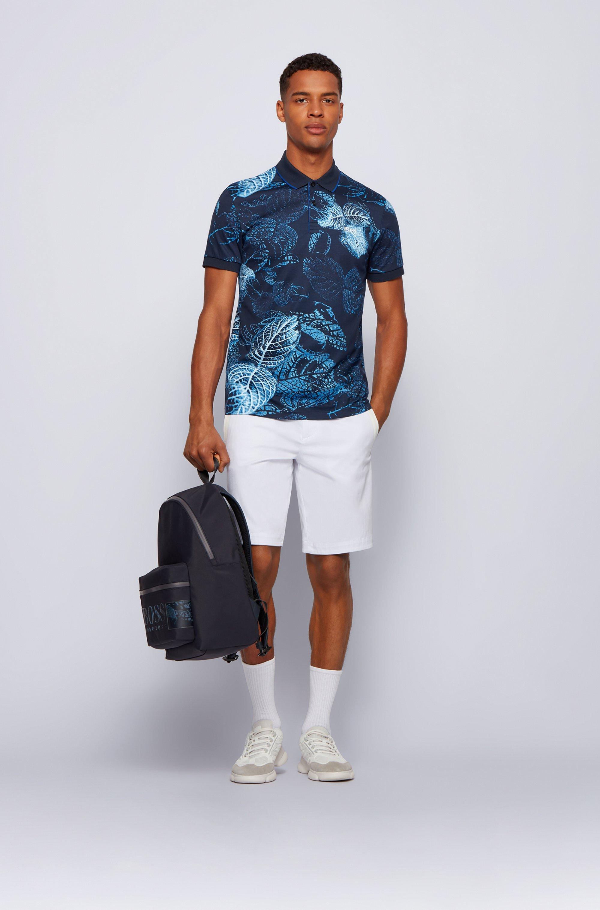 Interlock-cotton polo shirt with botanical print