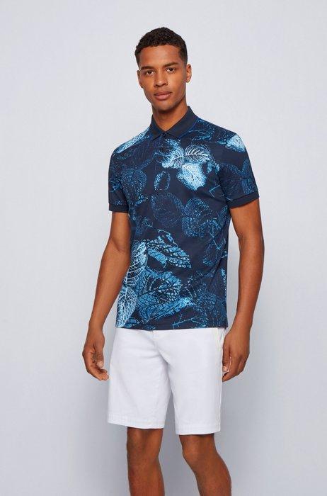 Interlock-cotton polo shirt with botanical print, Dark Blue