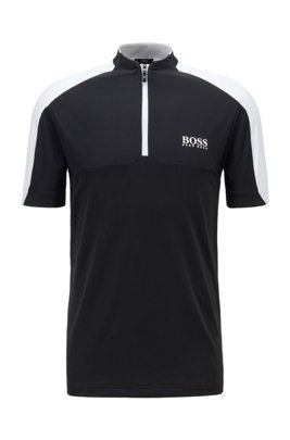 Zip-neck logo polo shirt in performance-stretch fabric, Black