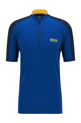 Zip-neck logo polo shirt in performance-stretch fabric, Blue