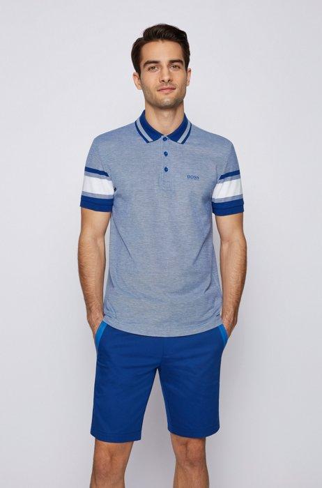 Pima-cotton polo shirt with sleeve stripes, Blue
