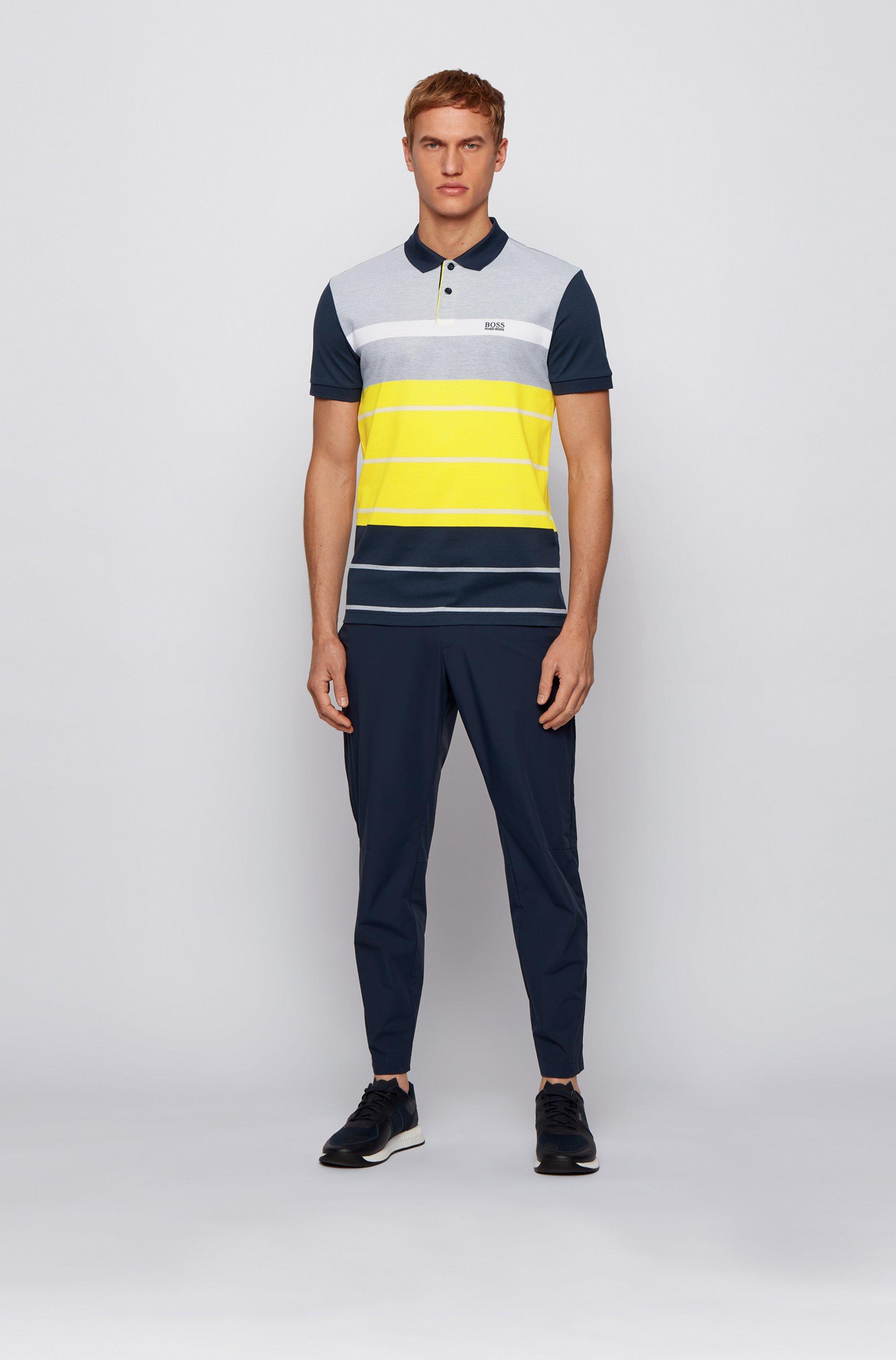 Color-block polo shirt in striped Oxford cotton piqué