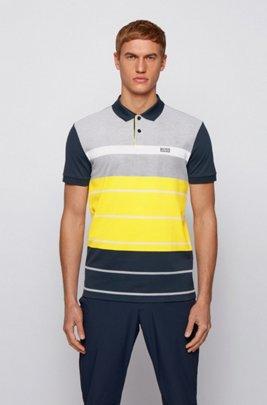 Color-block polo shirt in striped Oxford cotton piqué, Dark Blue