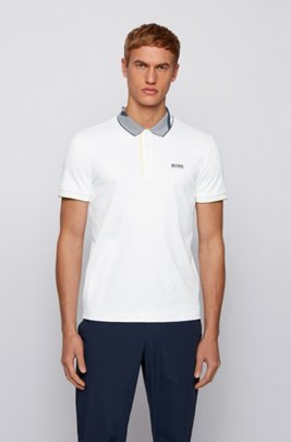 Slim-fit polo shirt in cotton with patterned collar, White