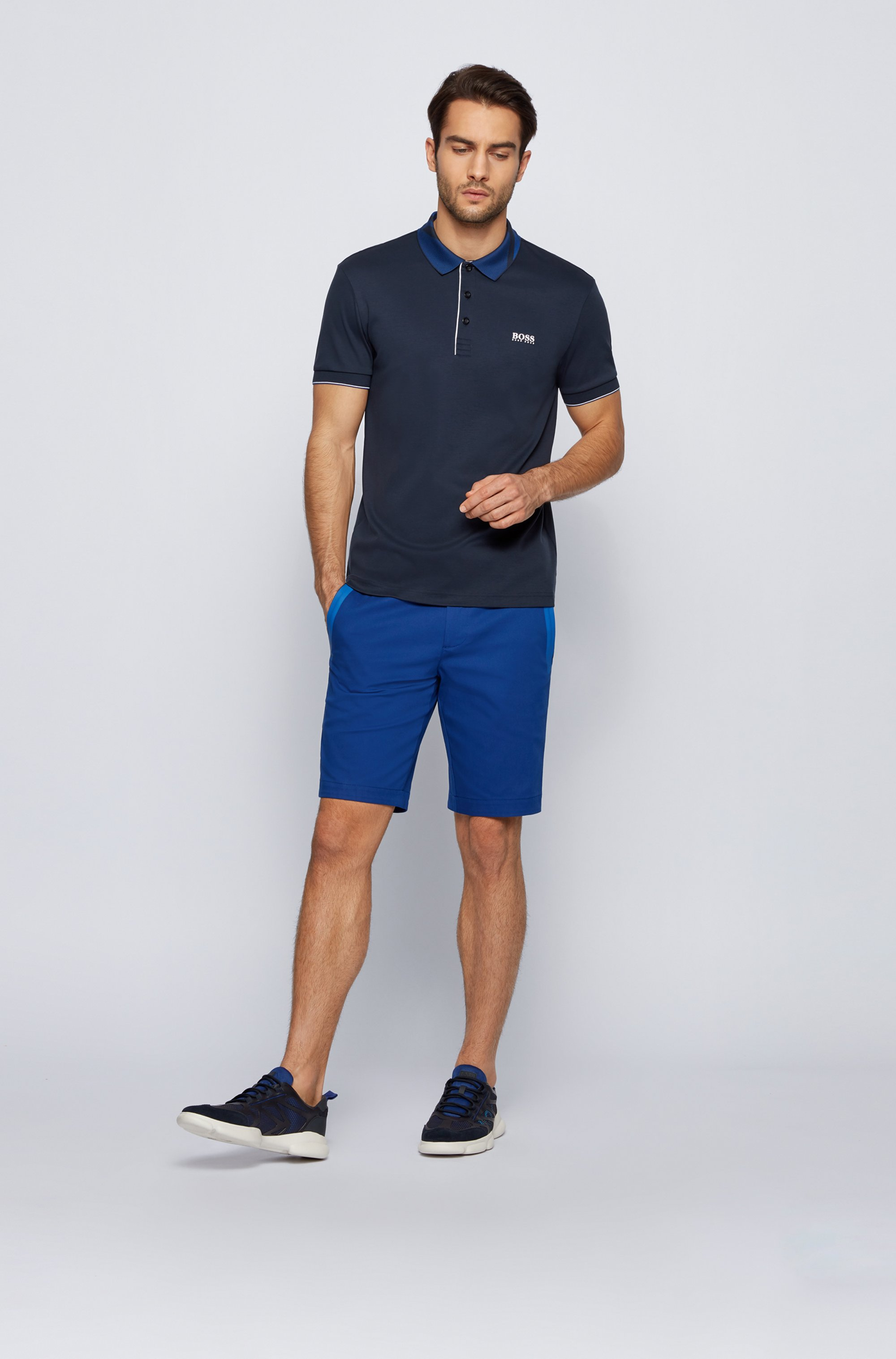 Slim-fit polo shirt in cotton with patterned collar