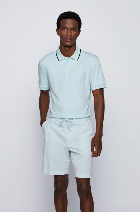 Regular-fit polo shirt with striped collar, Light Blue