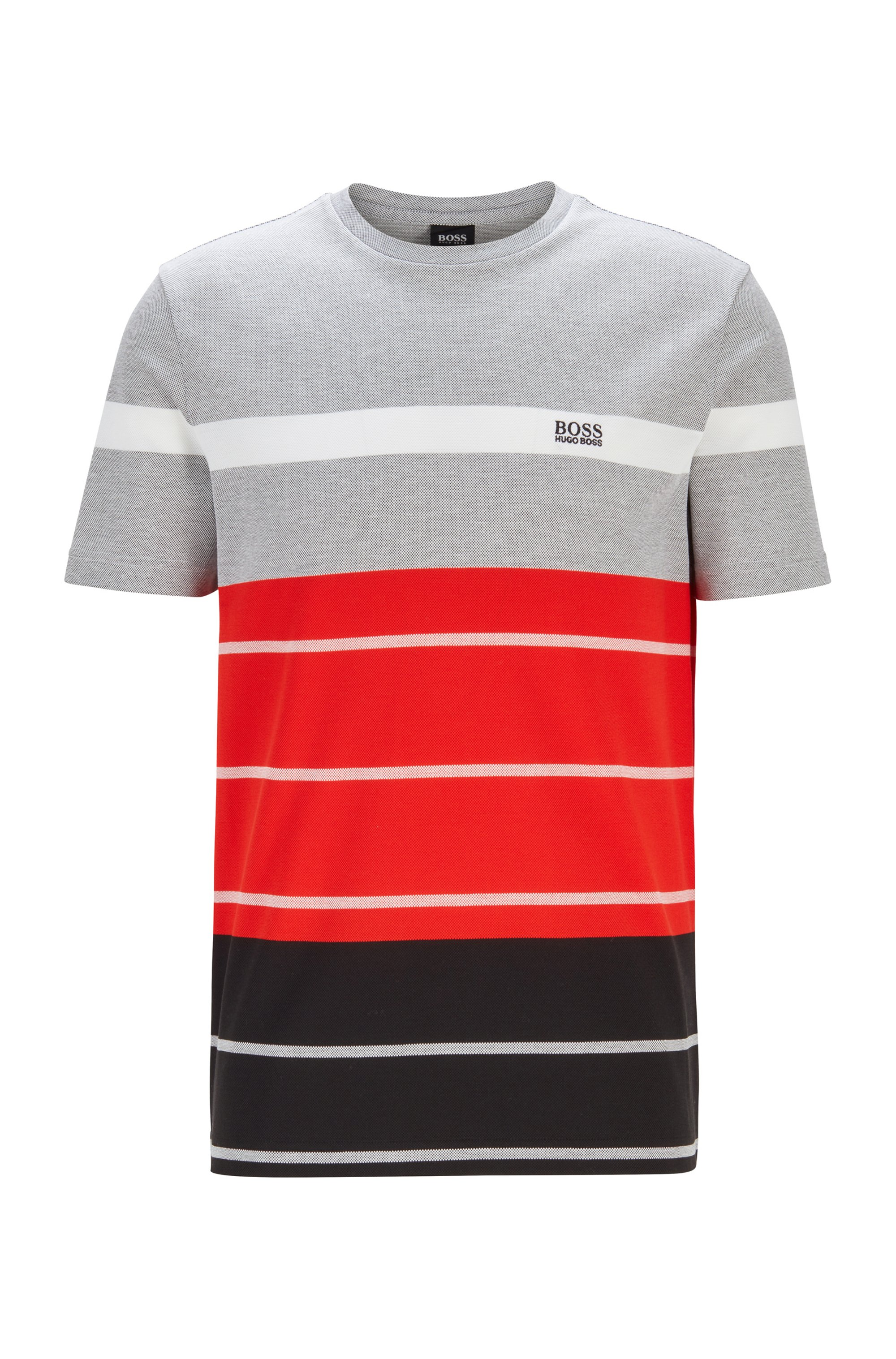 Oxford-cotton T-shirt with block stripes and logo, Black