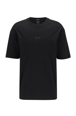 Relaxed-fit T-shirt in cotton with reflective rear logo, Black