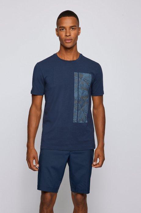 Stretch-cotton T-shirt with botanical logo artwork, Dark Blue