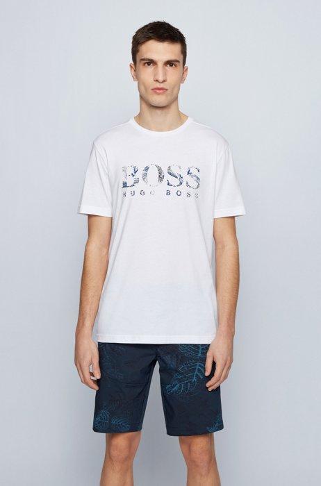 Regular-fit cotton T-shirt with botanic-print logo, White