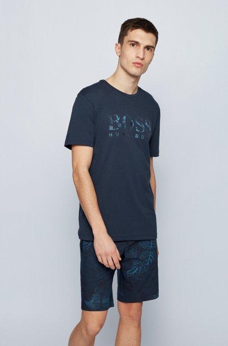 Regular-fit cotton T-shirt with botanic-print logo, Dark Blue