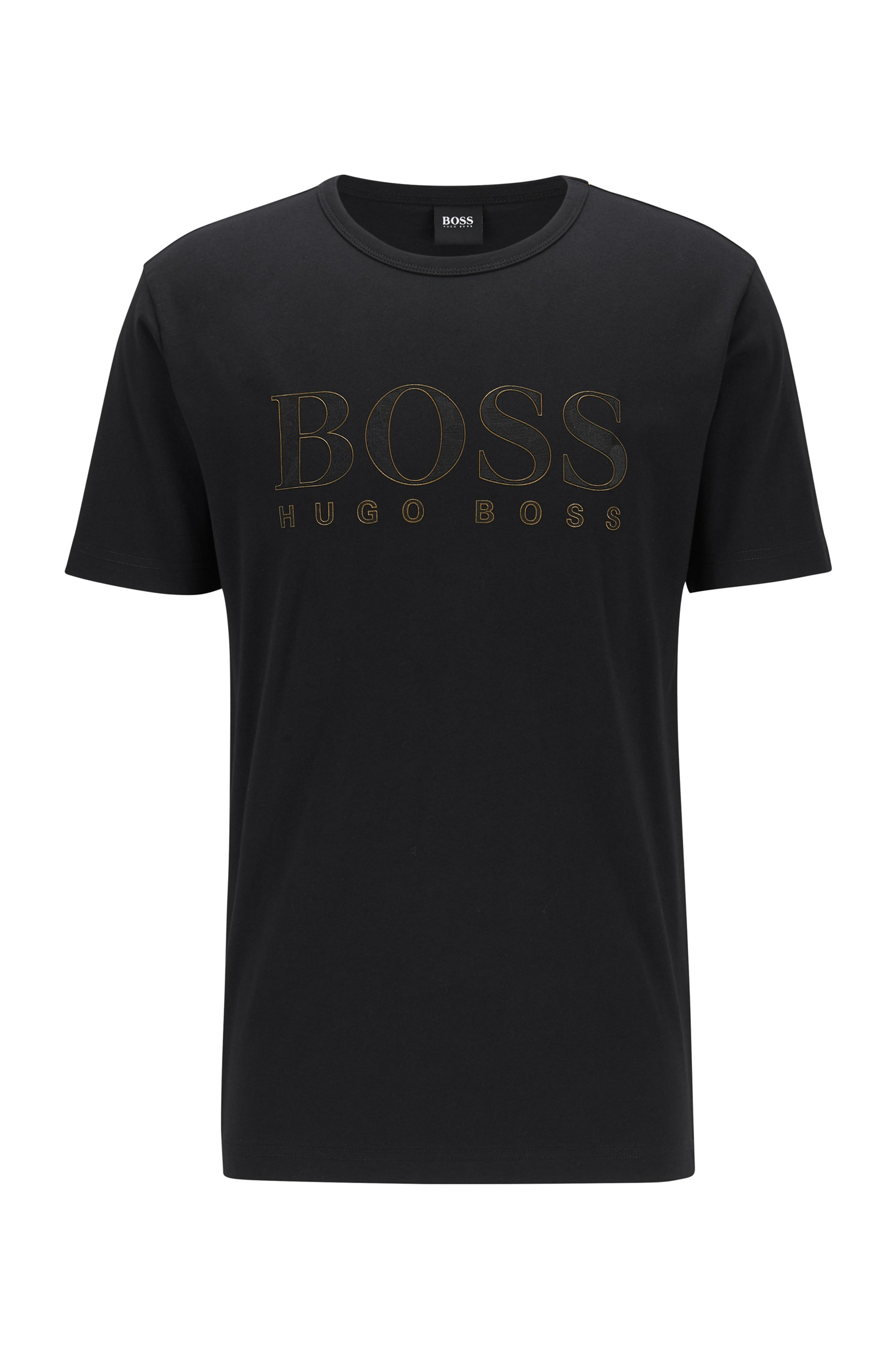 Slim-fit T-shirt in cotton with gold-effect logo, Black