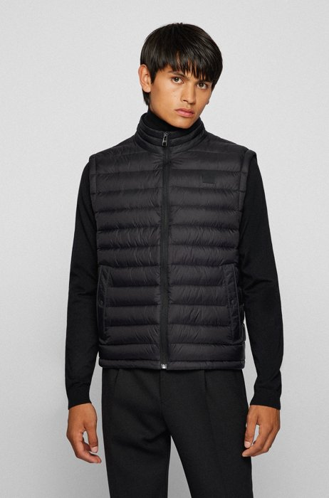 Packable down gilet with water-repellent outer, Black
