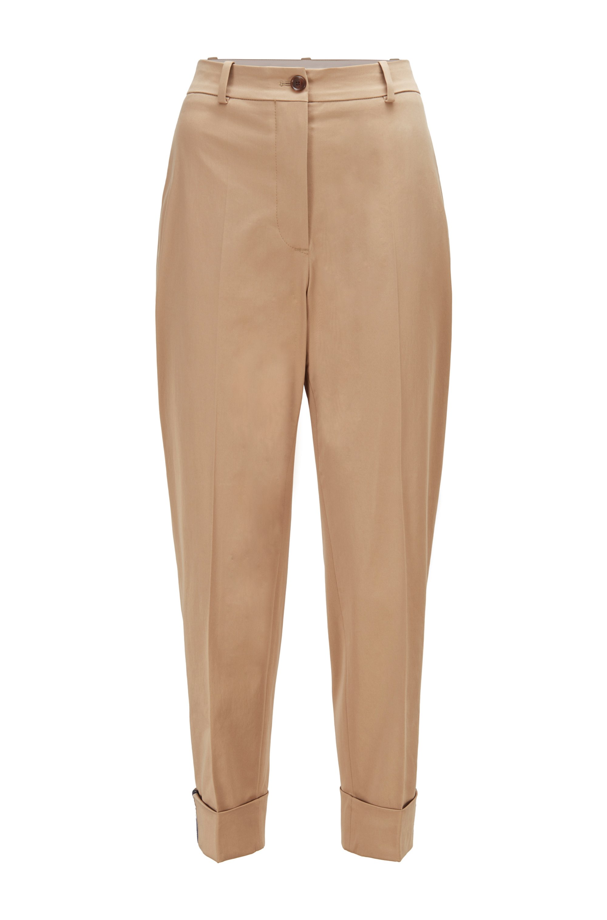 Relaxed-fit cropped pants in organic cotton with stretch, Beige