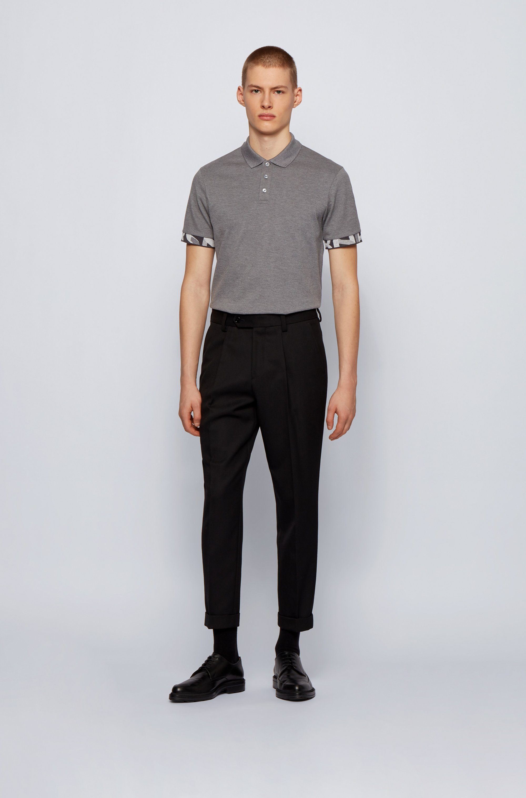 Regular-fit polo shirt with patterned cuffs