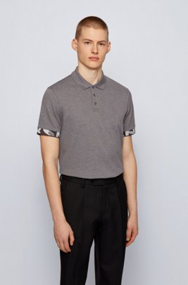 Regular-fit polo shirt with patterned cuffs, Grey