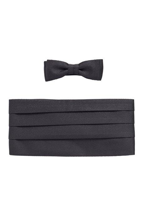 Silk-blend cummerbund and bow tie set, Black